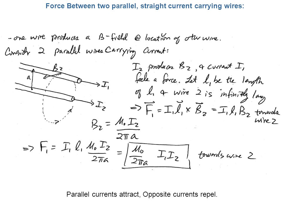 Force Between two parallel, straight current carrying wires:
