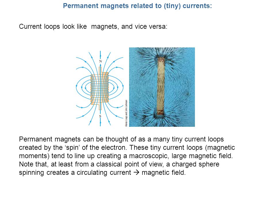 Permanent magnets related to (tiny) currents: