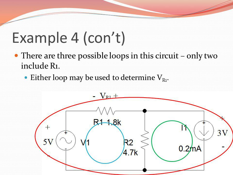 Example 4 (con't) There are three possible loops in this circuit – only two include R1.