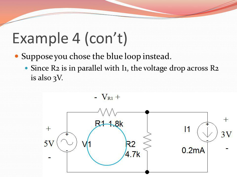 Example 4 (con't) Suppose you chose the blue loop instead.