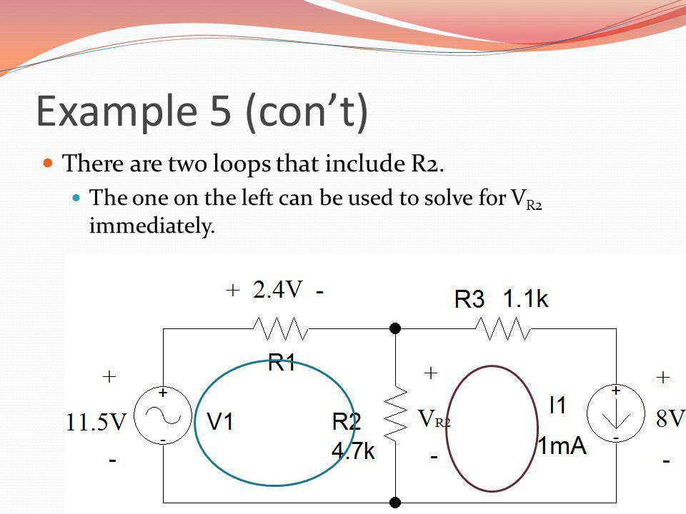 Example 5 (con't) There are two loops that include R2.