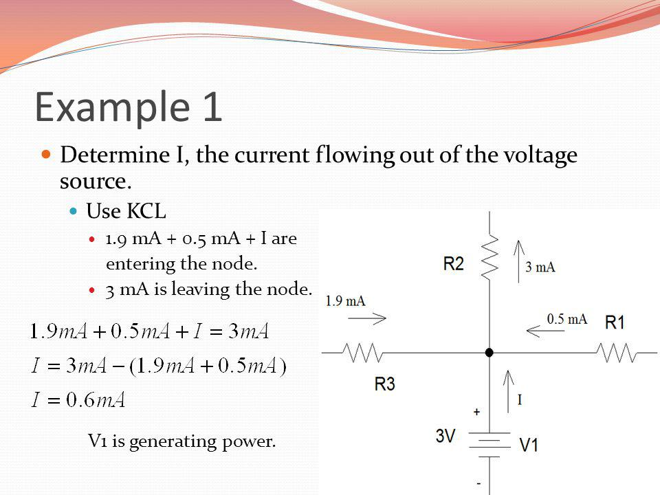Example 1 Determine I, the current flowing out of the voltage source.