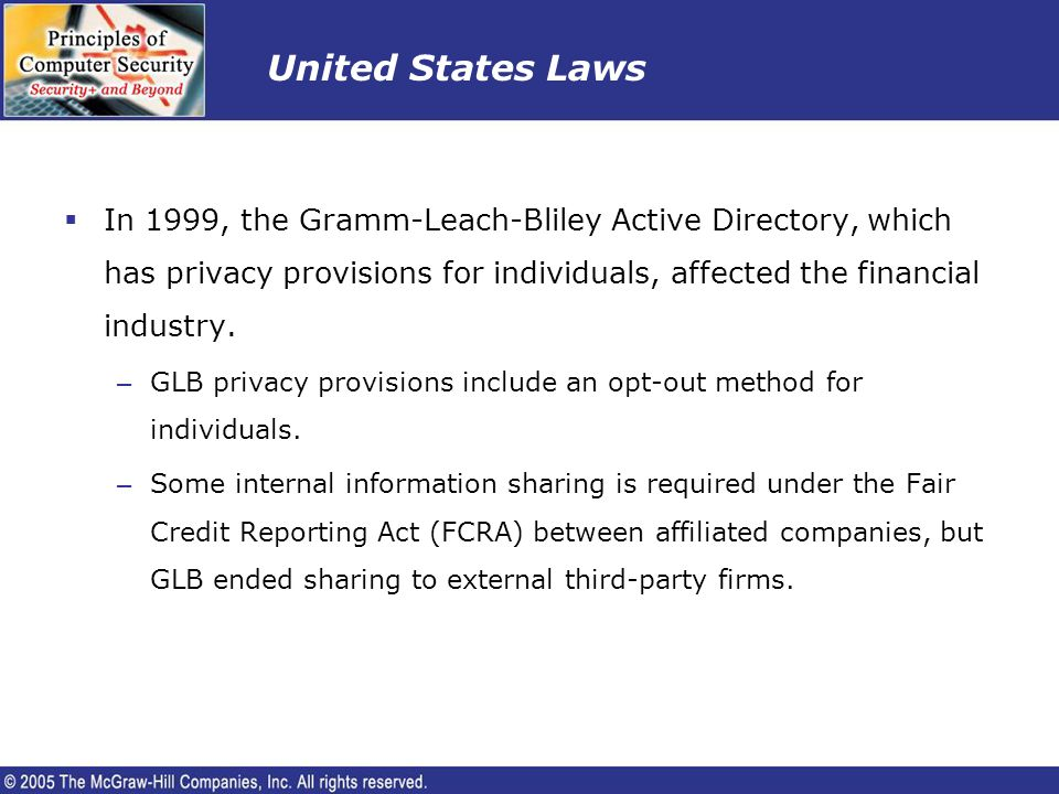 United States Laws In 1999, the Gramm-Leach-Bliley Active Directory, which has privacy provisions for individuals, affected the financial industry.