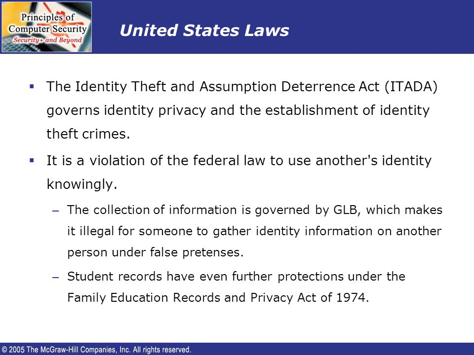 United States Laws The Identity Theft and Assumption Deterrence Act (ITADA) governs identity privacy and the establishment of identity theft crimes.