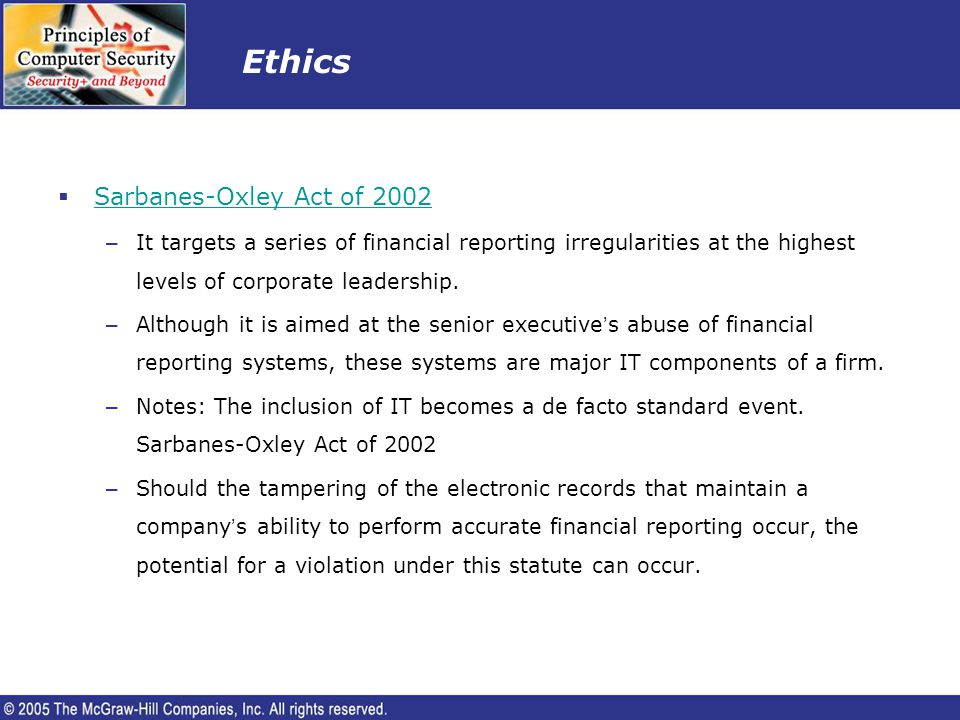 Ethics Sarbanes-Oxley Act of 2002