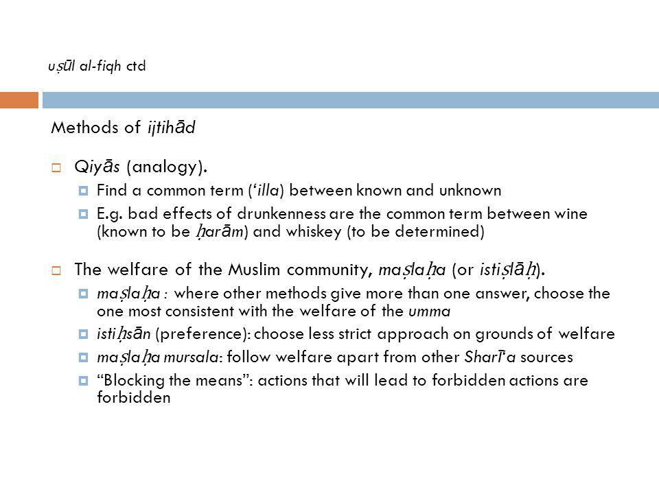 The welfare of the Muslim community, maṣlaḥa (or istiṣlāḥ).