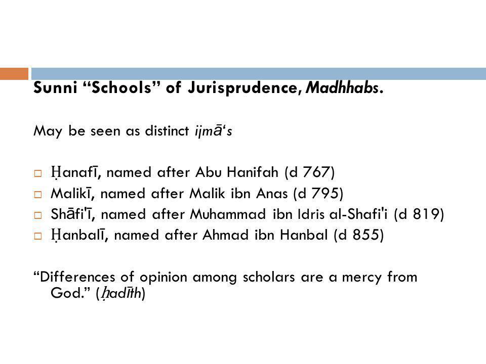 Sunni Schools of Jurisprudence, Madhhabs.
