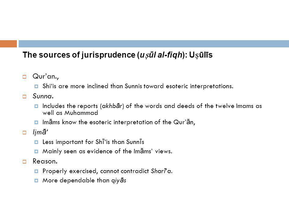 The sources of jurisprudence (uṣūl al-fiqh): Uṣūlīs Qur'an., Sunna.