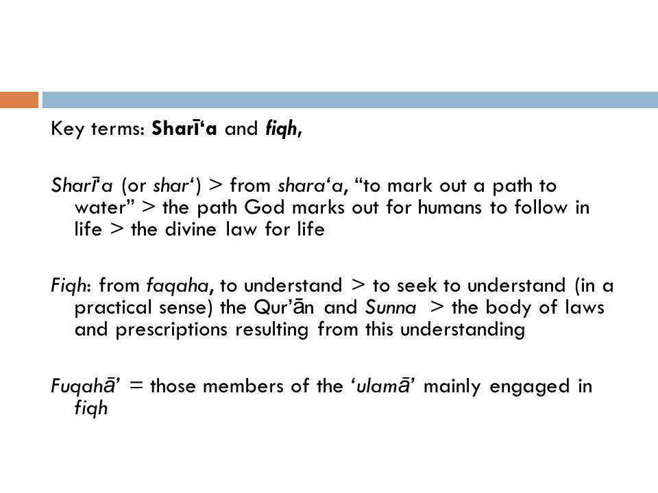 Key terms: Sharī'a and fiqh,