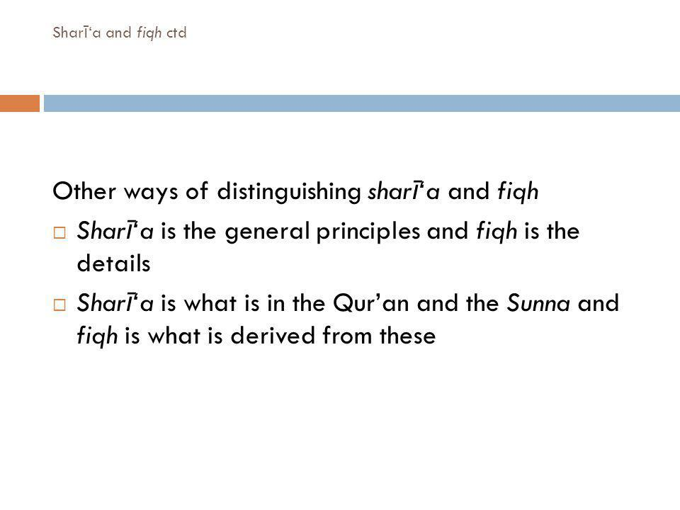 Other ways of distinguishing sharī'a and fiqh