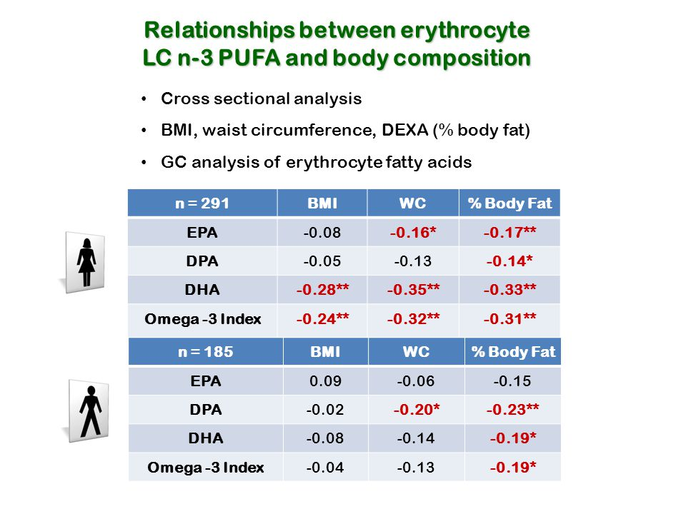 Relationships between erythrocyte LC n-3 PUFA and body composition