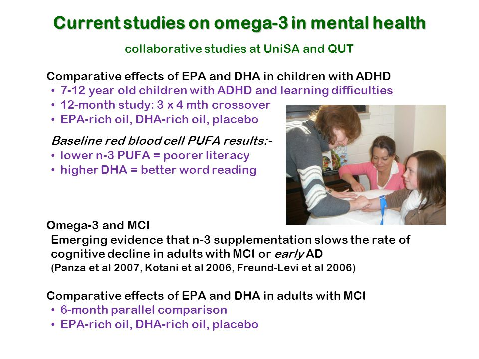 Current studies on omega-3 in mental health collaborative studies at UniSA and QUT