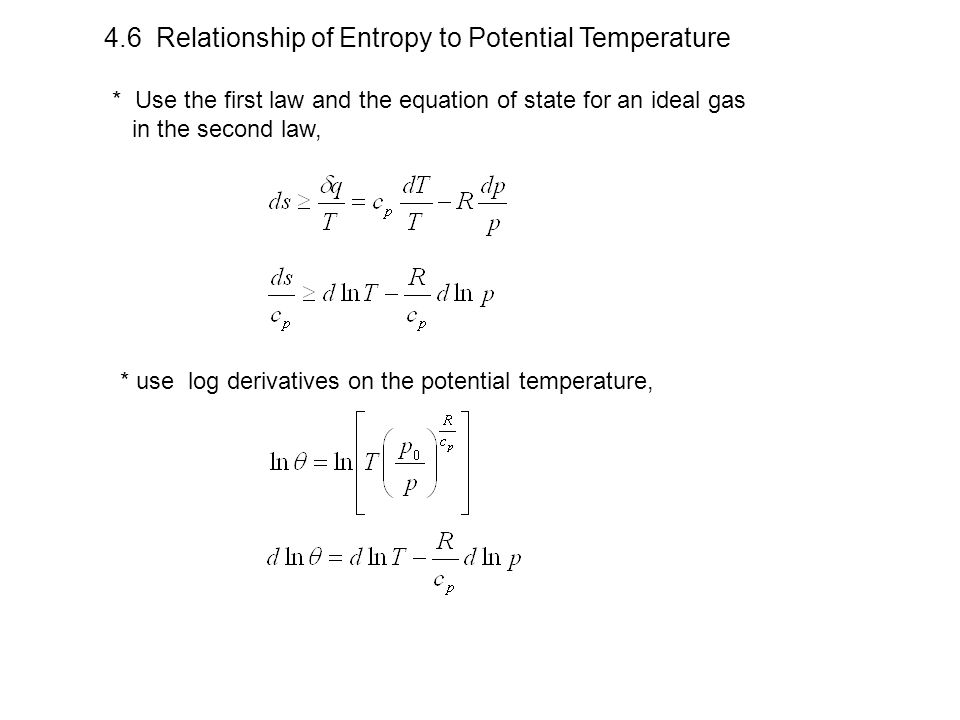 4.6 Relationship of Entropy to Potential Temperature