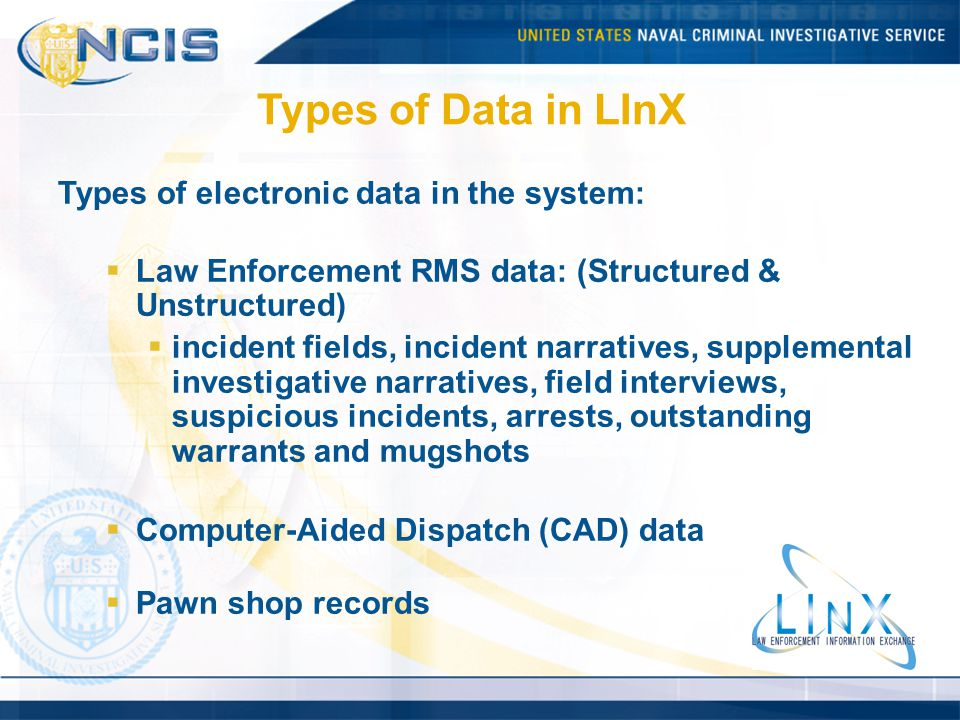 Types of Data in LInX Types of electronic data in the system: