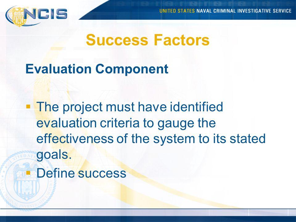 Success Factors Evaluation Component