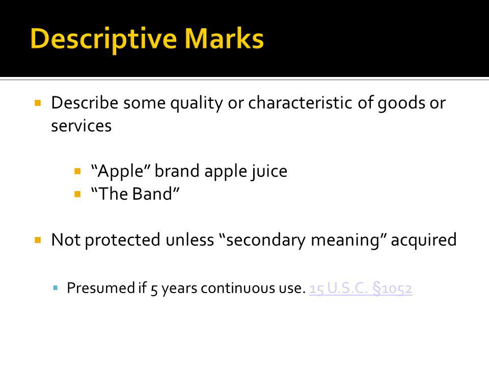 Describe some quality or characteristic of goods or services