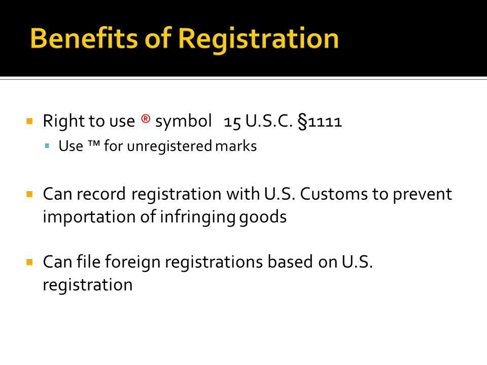 Right to use ® symbol 15 U.S.C. §1111