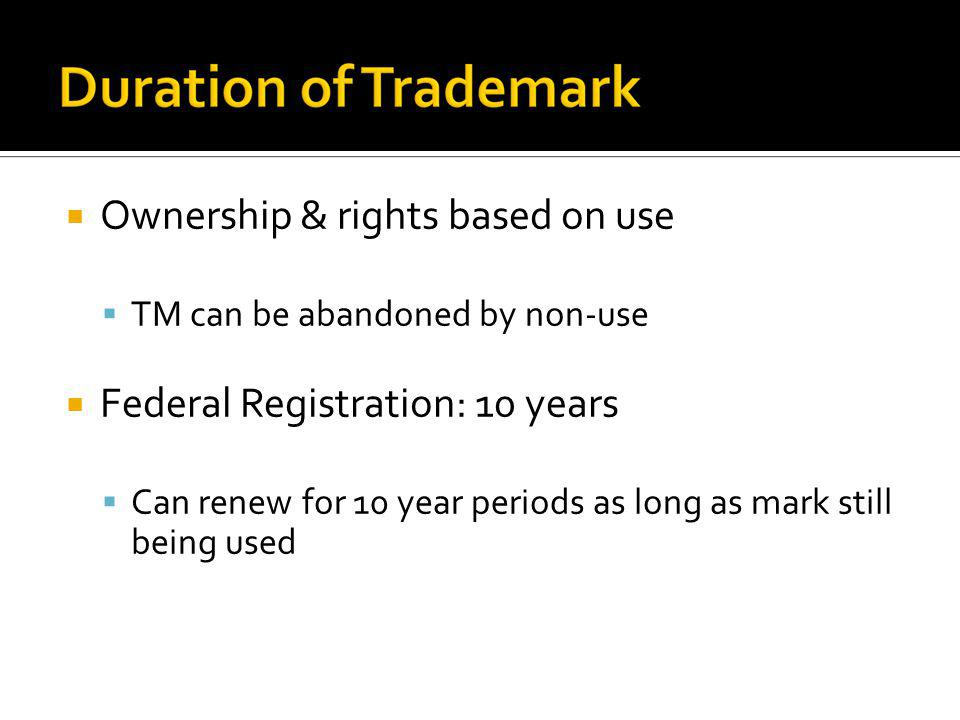 Ownership & rights based on use