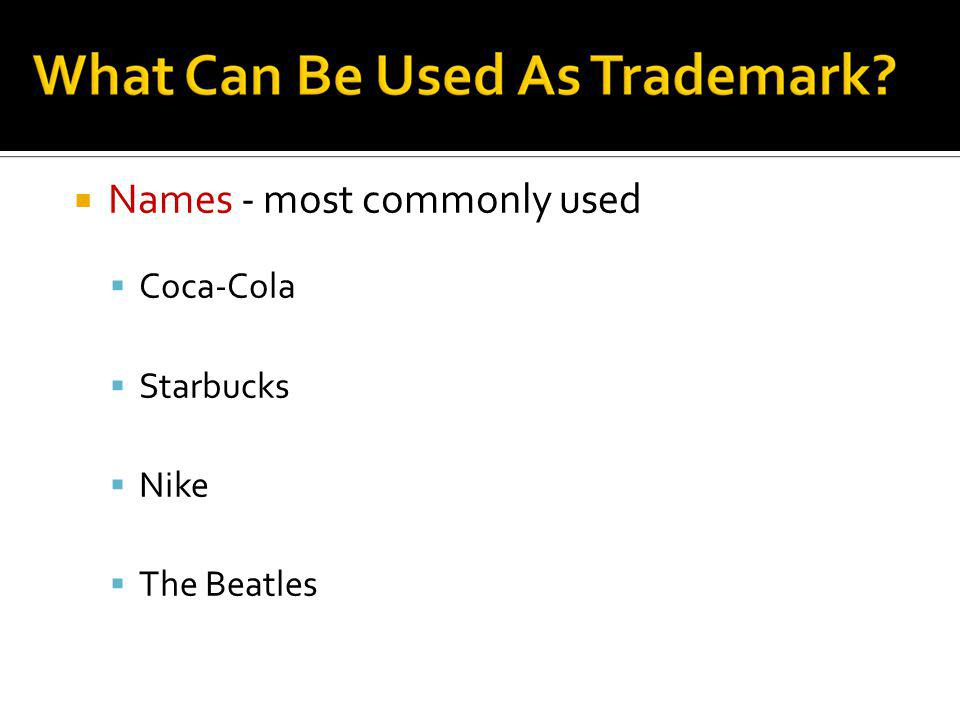 Names - most commonly used
