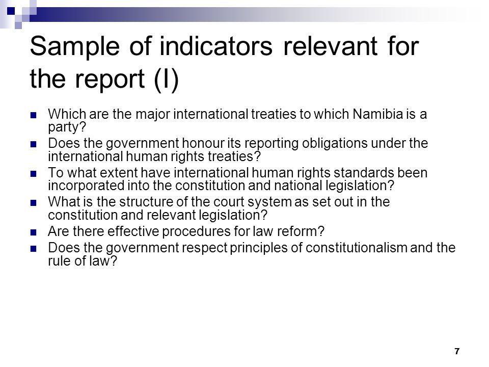Sample of indicators relevant for the report (I)