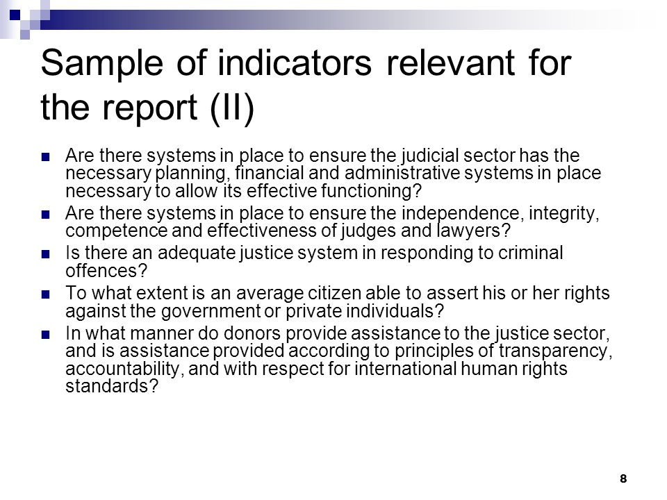 Sample of indicators relevant for the report (II)