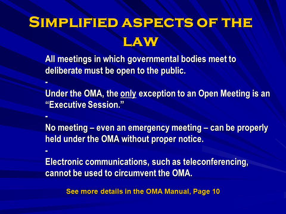 Simplified aspects of the law