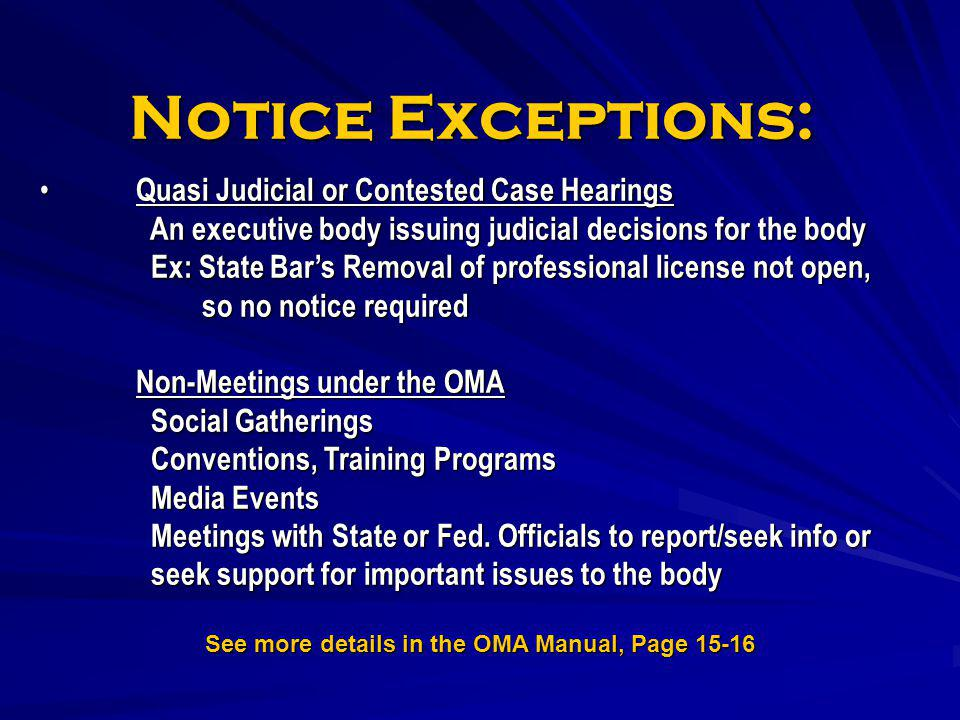 See more details in the OMA Manual, Page 15-16