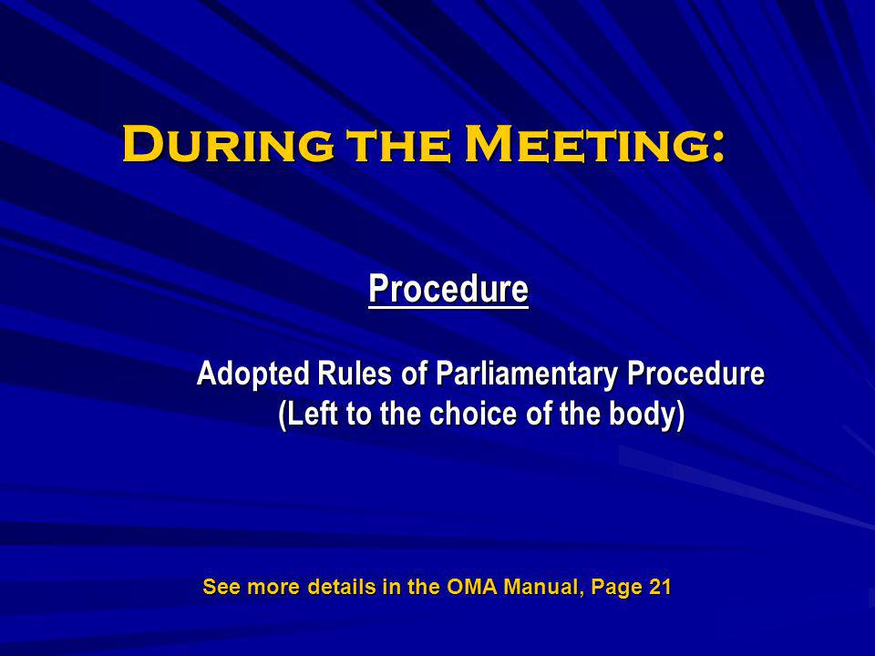 See more details in the OMA Manual, Page 21
