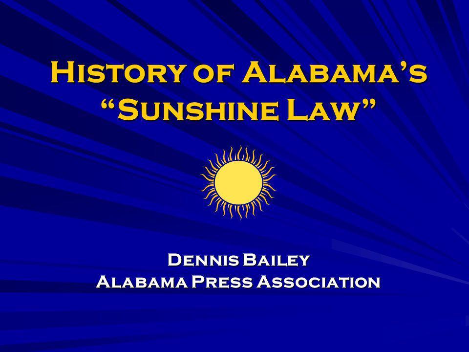 History of Alabama's Sunshine Law