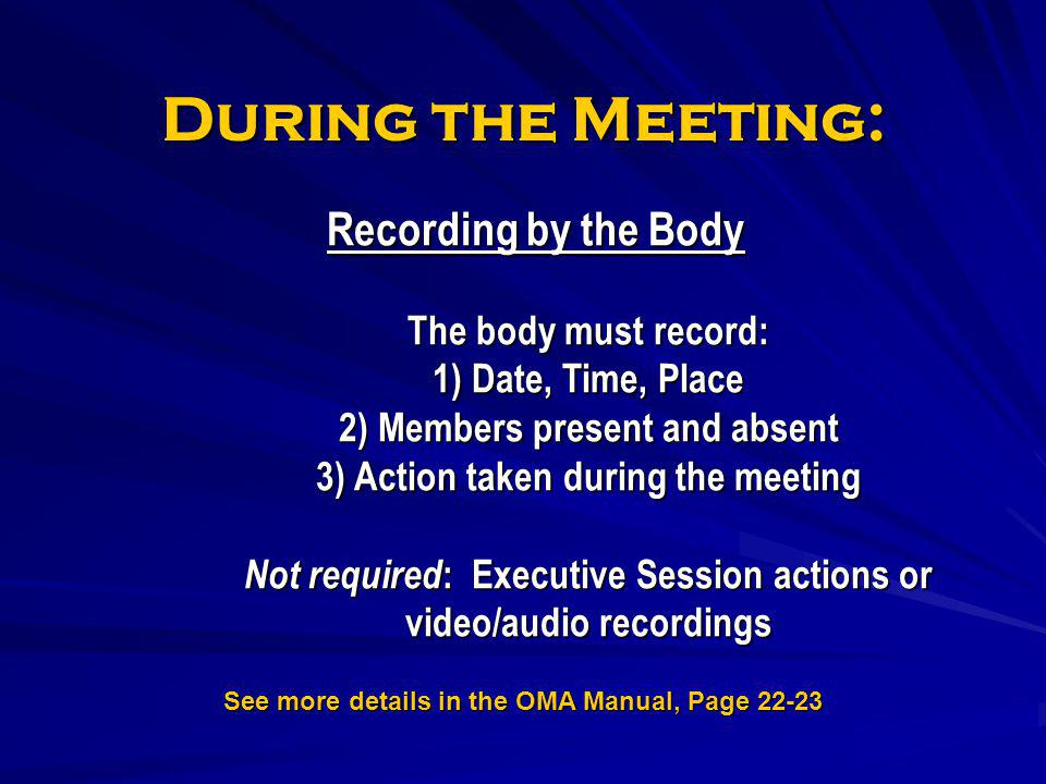 See more details in the OMA Manual, Page 22-23