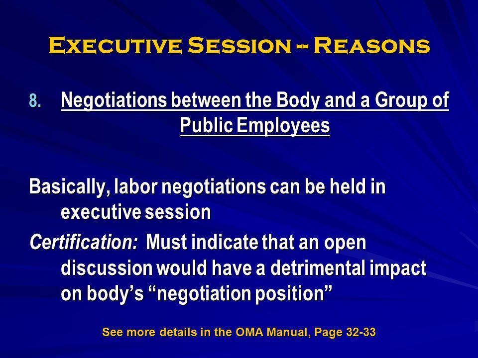 Executive Session -- Reasons