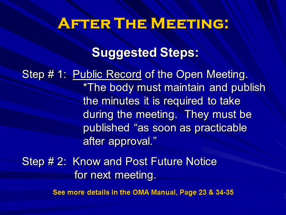 See more details in the OMA Manual, Page 23 & 34-35