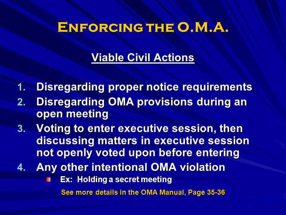 See more details in the OMA Manual, Page 35-36