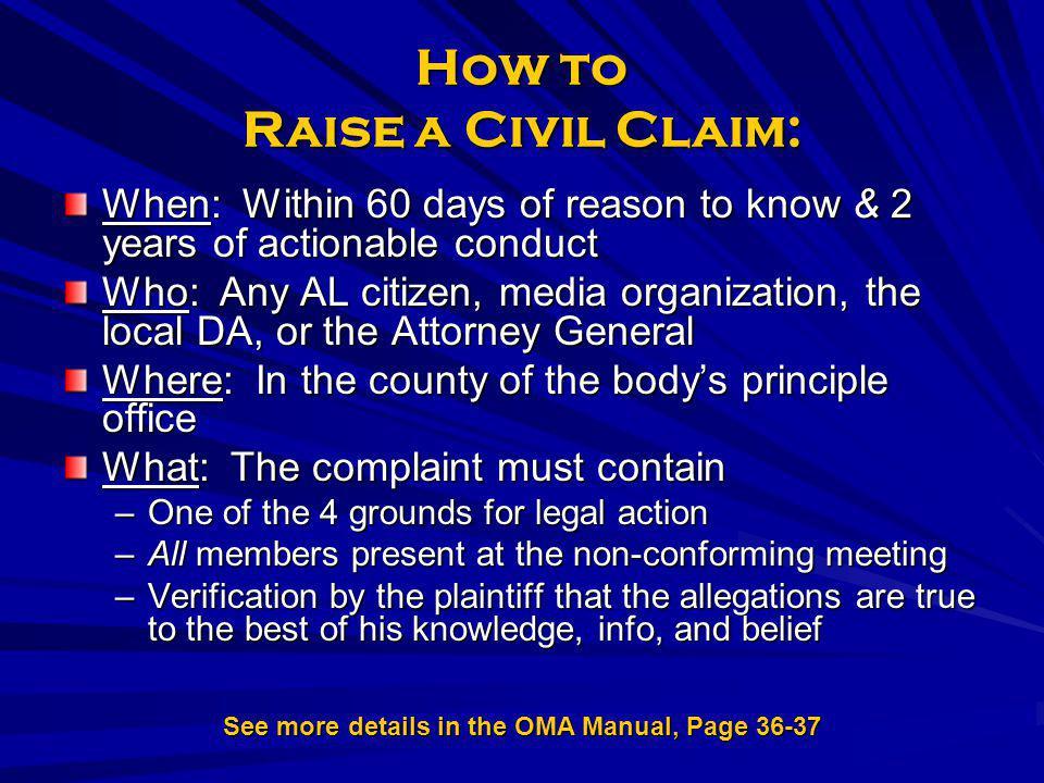 How to Raise a Civil Claim: