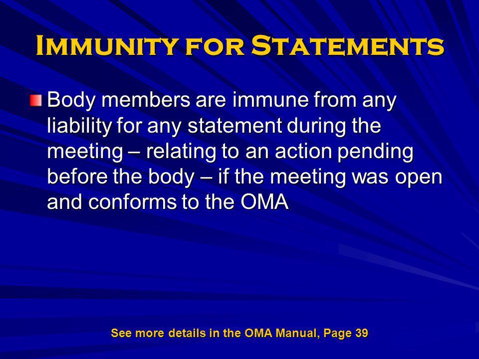 Immunity for Statements