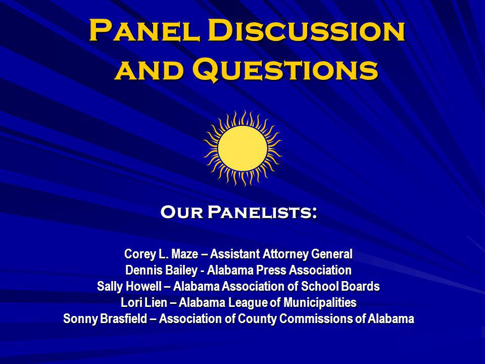 Panel Discussion and Questions