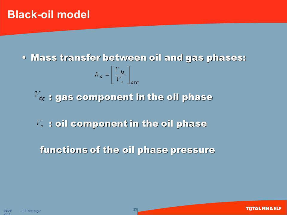 Black-oil model Mass transfer between oil and gas phases: