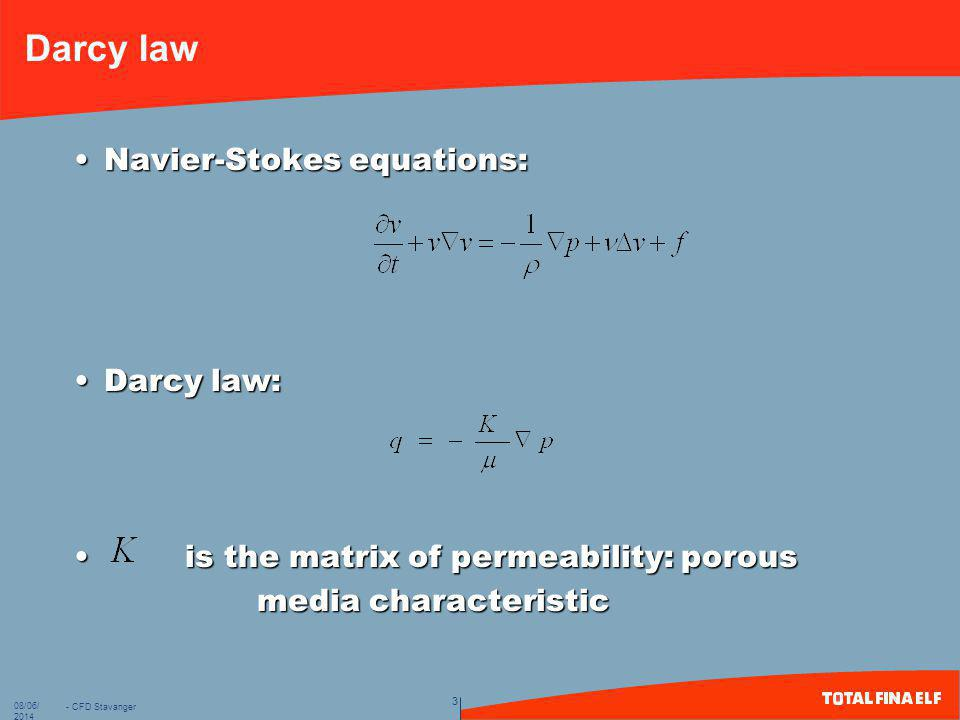 Darcy law Navier-Stokes equations: Darcy law: