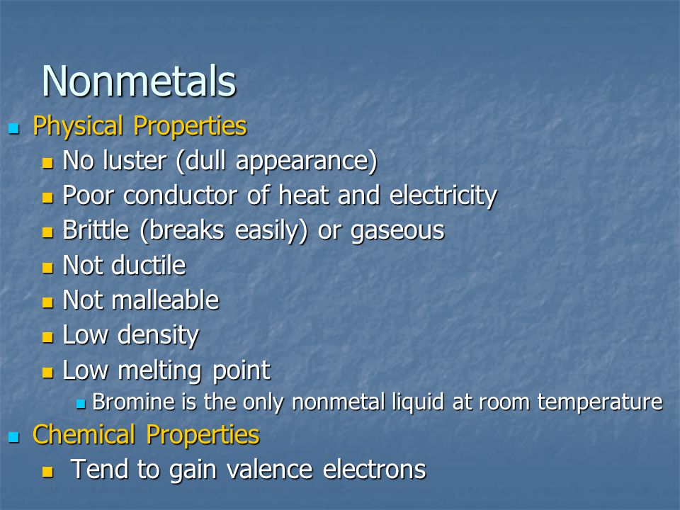 Nonmetals Physical Properties No luster (dull appearance)