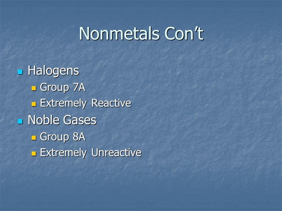 Nonmetals Con't Halogens Noble Gases Group 7A Extremely Reactive