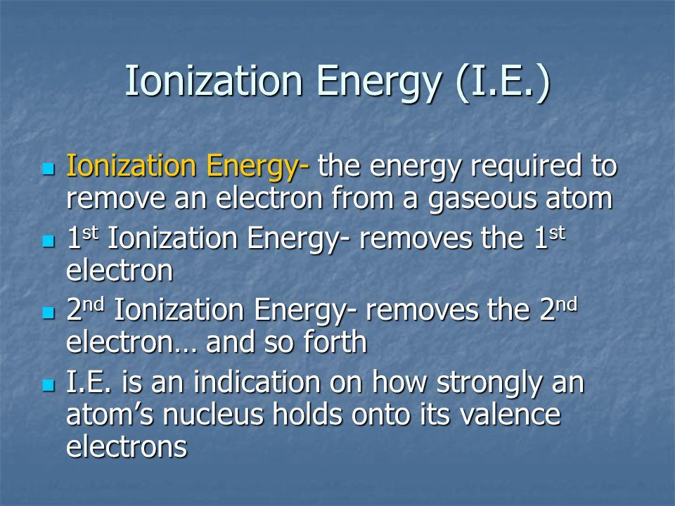 Ionization Energy (I.E.)