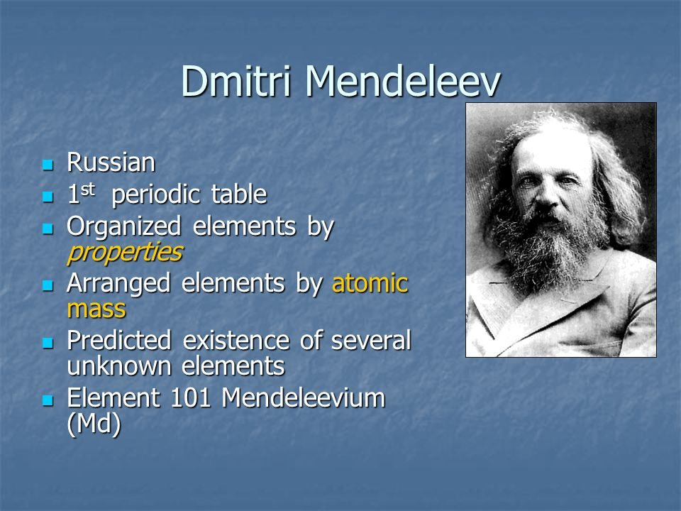 Dmitri Mendeleev Russian 1st periodic table