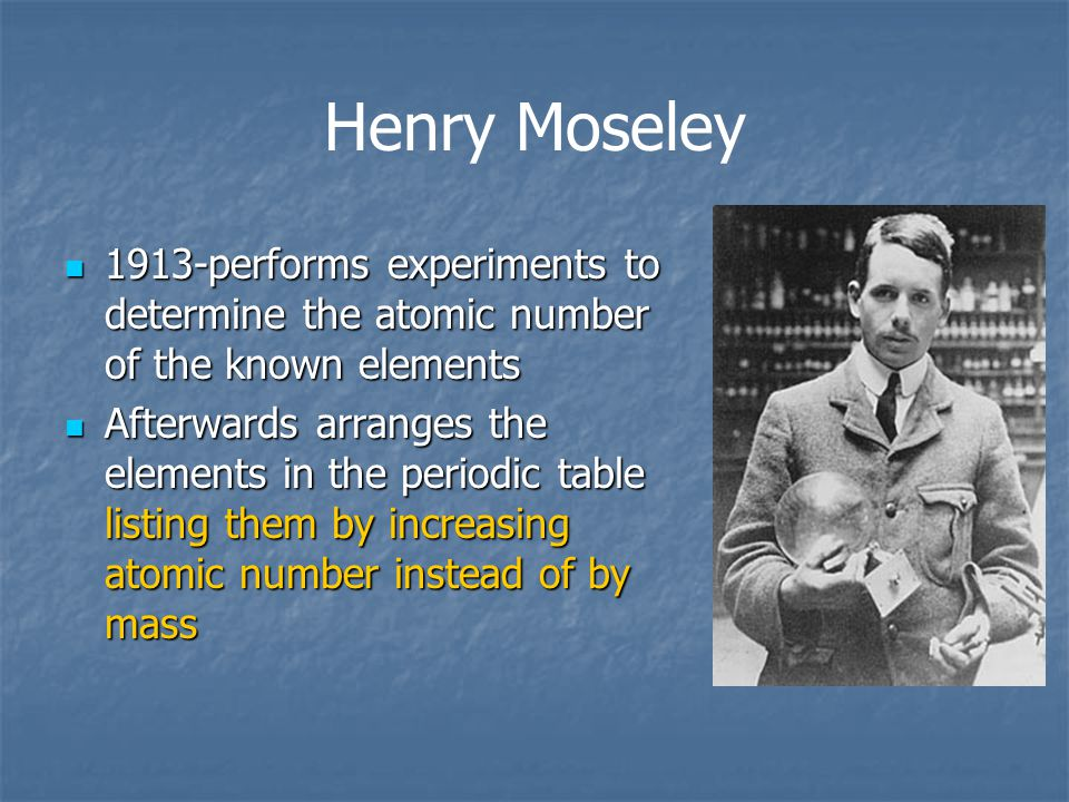 Henry Moseley 1913-performs experiments to determine the atomic number of the known elements.