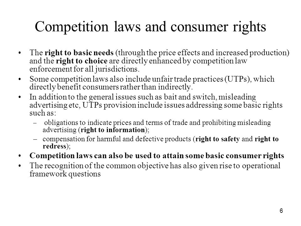 Competition laws and consumer rights