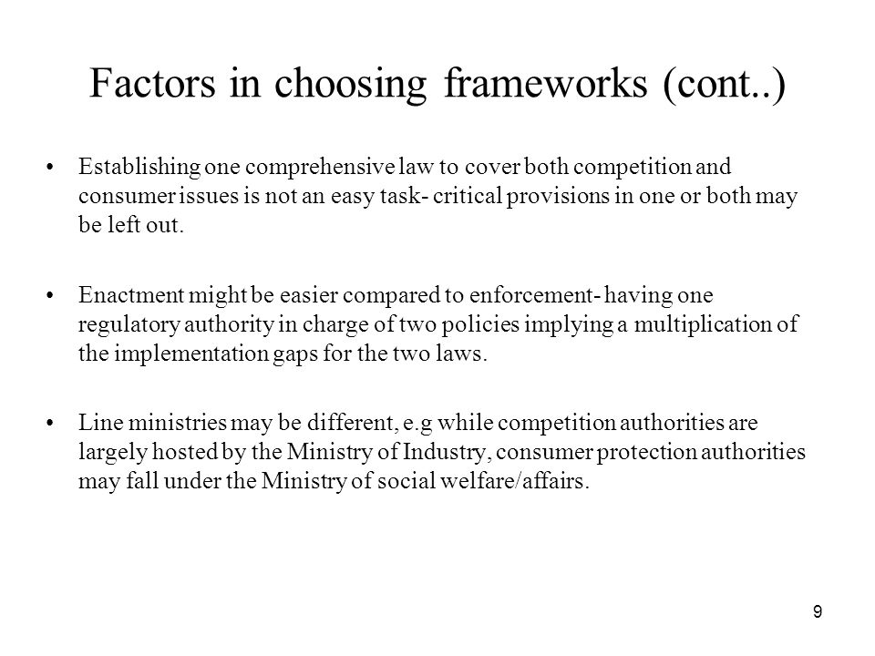 Factors in choosing frameworks (cont..)