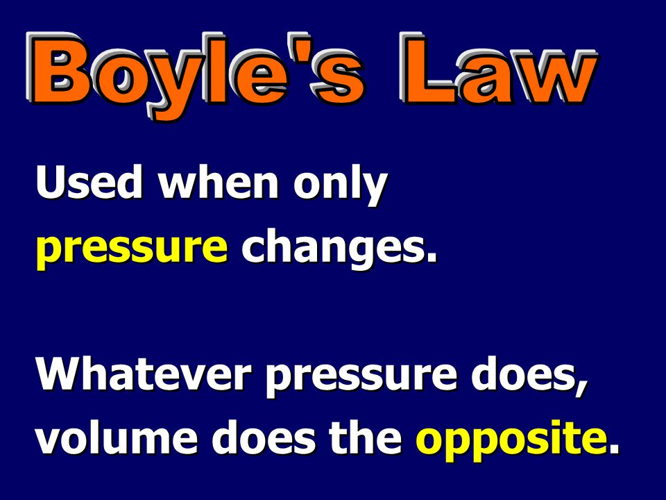 Whatever pressure does, volume does the opposite.
