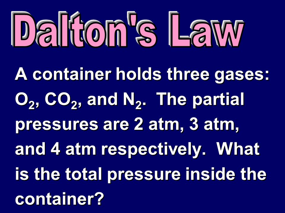 A container holds three gases: O2, CO2, and N2. The partial