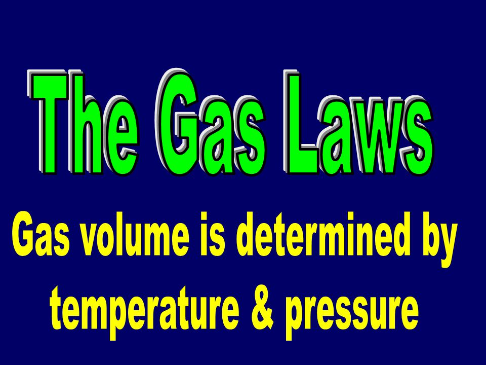 Gas volume is determined by temperature & pressure