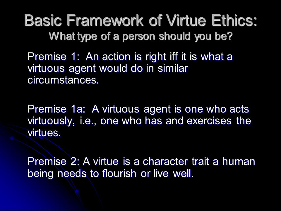Basic Framework of Virtue Ethics: What type of a person should you be