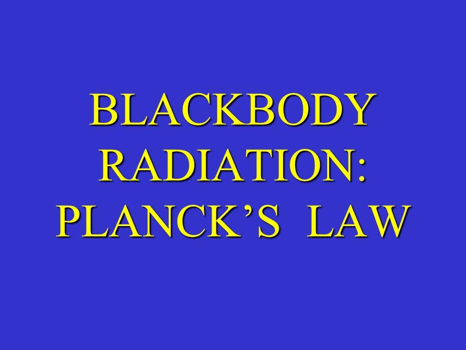 BLACKBODY RADIATION: PLANCK'S LAW